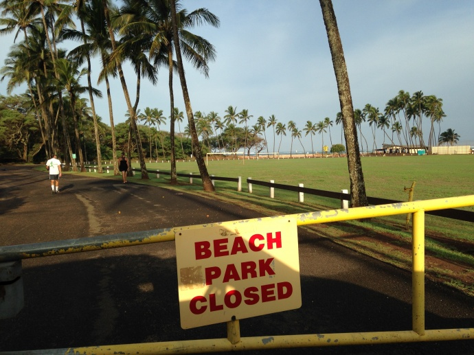 Baldwin Beach Park closed, photo courtesy County of Maui.