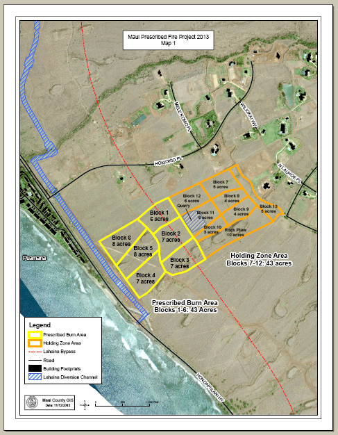 Puamana prescribed fire perimeter. Photo courtesy Maui Department of Fire and Public Safety.