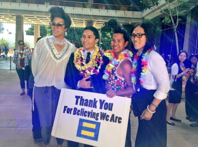 In the moments after the Hawaiʻi Senate passed SB1 HD1, some House Democrats, including  Rep.Kaniela Ing of Maui were observed heading into Rotunda to celebrate. Photo courtesy Mileka Lincoln.