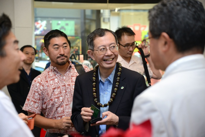 Ken Sano (Hitachi) and Koji Tanaka enjoy the JUMPSmartMaui Innovation Center opening festivities. (pictured left to right).  Courtesy photo.