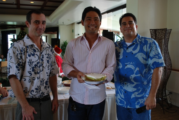Pictured are from L to R:  Dewayne Phillips, Pastry Chef at the Makena Beach & Golf Resort;  Chad Sumida of Wailuku, Winner, and Mackie Mac from DaJam 98.3's Zoo Crew. Photo by Charly Espina Takahama