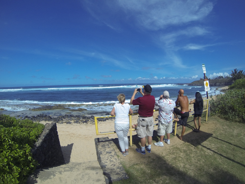 Spectators attempt to take pictures of the heavy surf at Ho'okipa that spoiled Maui ocean athletes last week. File photo by Riley Yap.