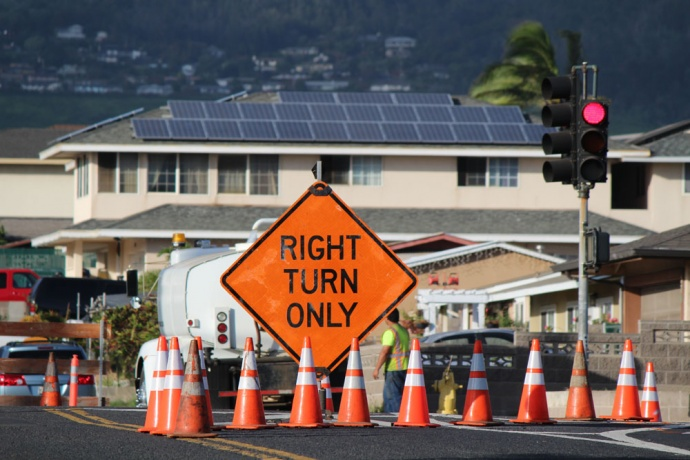 Road improvements on Wakea Avenue at Kea Street in Kahului. Photo by Wendy Osher.
