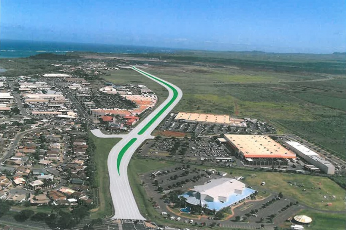 Kahului Airport Access Road rendering. Image courtesy Hawaiʻi DOT.
