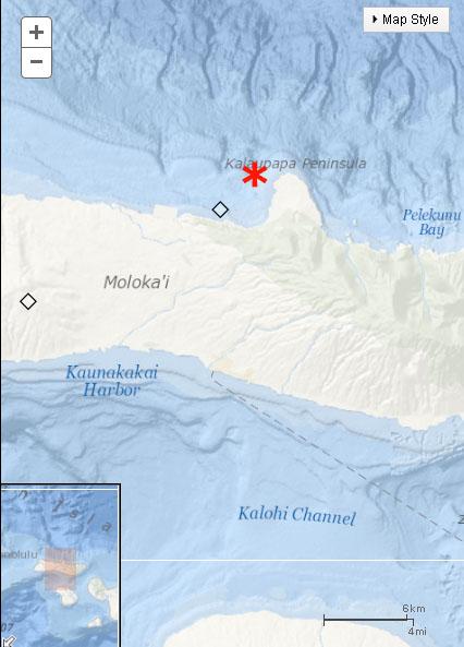 Kalaupapa, Molokaʻi map. Map courtesy USGS Hawaiʻi Volcanoes Observatory.