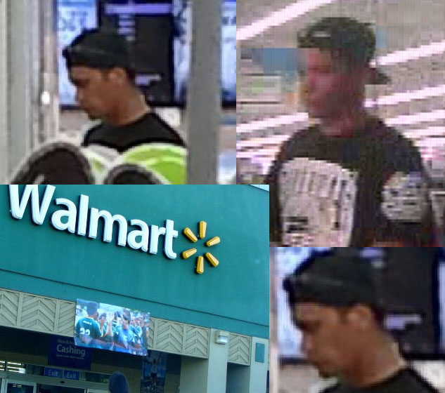 Walmart photo by Wendy Osher. Surveillance images courtesy Maui Police.