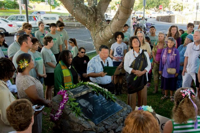 Mayor Alan Arakawa reading the Dr. Martin Luther King Jr. Day Proclamation at Stone of Hope Monument which is located in Front of County Building. (1.20.2014)  The event was held in honor of Dr. Martin Luther King Jr. Photo courtesy County of Maui.