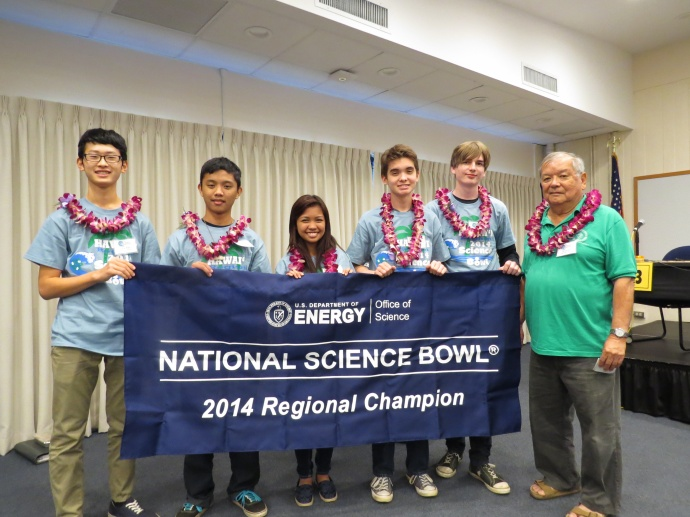 Maui High School will represent Hawai'i at the National Science Bowl® competition held near Washington D.C. on April 24 – 28, 2014. From left Christopher Kim, Bryson Galapon (captain), Joyce Cebricos, Riley Camp, Thomas Sturm and Coach Ed Ginoza. Courtesy photo.