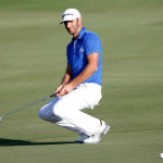 Dustin Johnson reacts to a putt on the 18th green during round three of the Hyundai Tournament of Champions at the Plantation Course on Sunday, Jan, 5. Photo by  Tom Pennington/Getty Images.