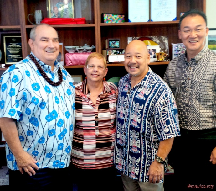 (L-R) Kauai County Council Chair Jay Furfaro, Maui County Council Chair Gladys C. Baisa, City and County of Honolulu Chair Ernest Y. Martin and Hawaii County Council Chair J Yoshimoto. Photo courtesy Maui County Office of Council Services.
