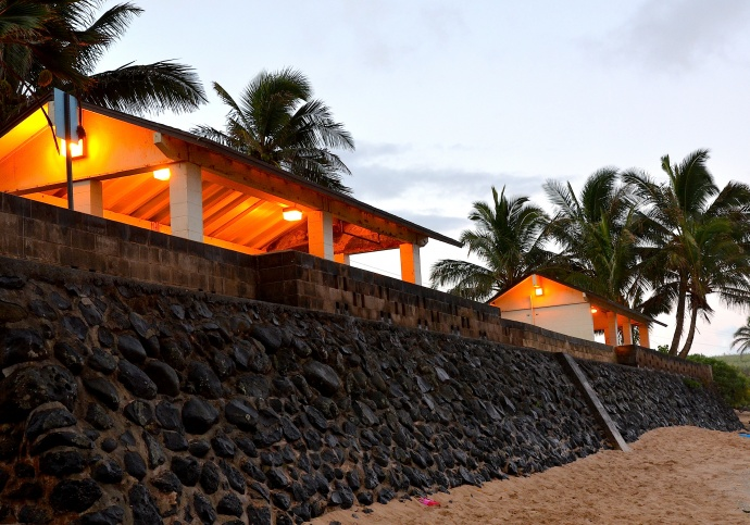 The pavilions at Ho'okipa Beach Park during sunrise on Christmas morning last month. Photo by Riley Yap.