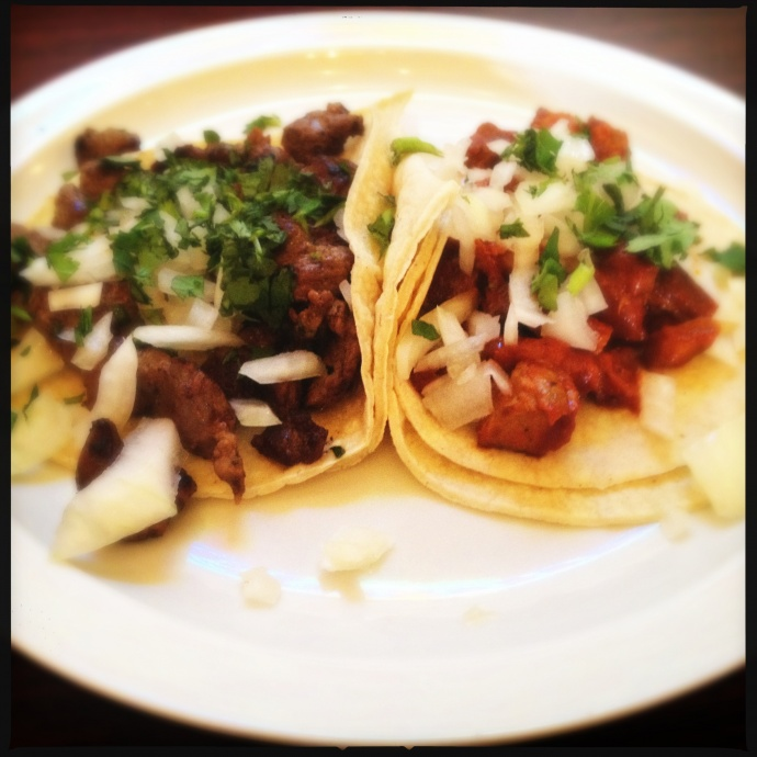 The Al Pastor (right) and Carne Asada (left) Tacos. Photo by Vanessa Wolf