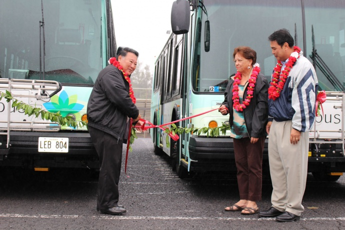 Maui Bus dedication, Jan. 27. 2014. Mayor Arakawa, and Council Members Stacy Crivello and Don Guzman. (left to right). Photo by Wendy Osher.