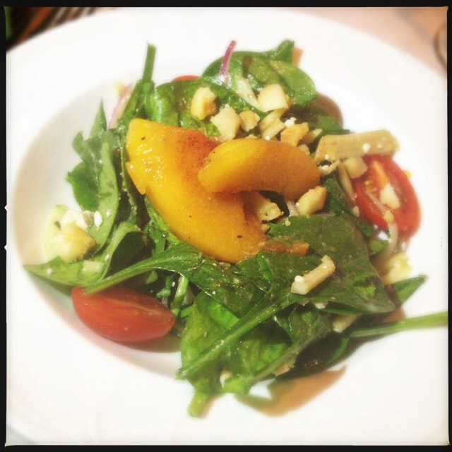 A Grilled Peach salad from a previous Makena event. Photo by Vanessa Wolf