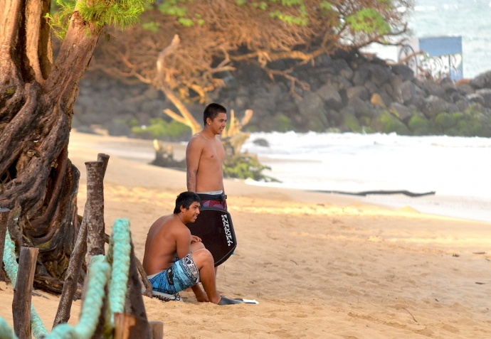 Local bodyboarders last month at Paia Bay. Photo by Rodney S. Yap.