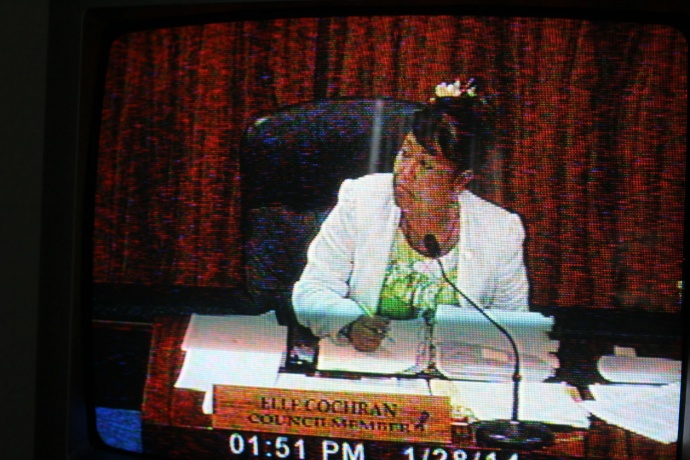 Elle Cochran introduced the pesticide and GMO bill. Testimony lasted into the afternoon before the Policy and Intergovernmental Affairs Committee. The testimony was carried live on Akakū Community Television Ch. 53.