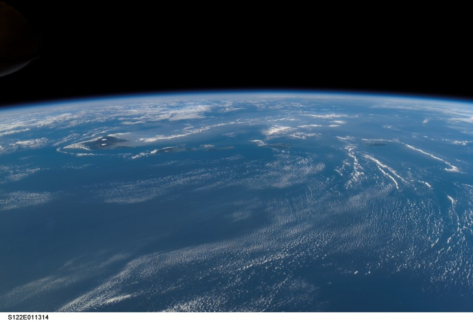 The Hawaiian archipelago as seen from space. NASA photo.