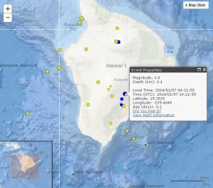 Map courtesy USGS/ Hawaiian Volcano Observatory. January 7, 2014.