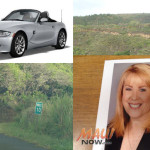 "Background images by Wendy Osher. Photo of ""Kini Chang"" and vehicle courtesy Maui Police."