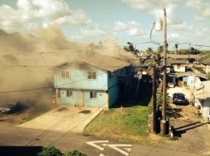 Kailana Street Fire, photo courtesy Kevin Bass, Jan. 6, 2014.