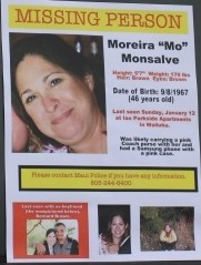 Search for Moreira Monsalve. Photo of flyer by Wendy Osher.