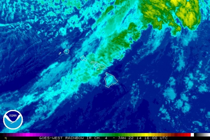 Satellite imagery at 6 a.m. HST, Wednesday, Jan. 22, 2014. Image courtesy NWS/NOAA.
