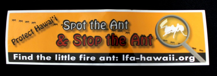 Bumper sticker distributed on Maui as part of the educational efforts to stop the spread of the little fire ant. Photo by Wendy Osher.