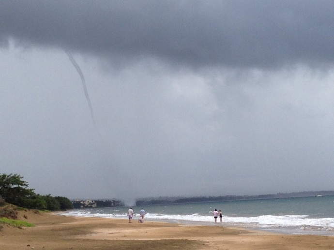 A waterspout was sighted off Sugar Beach, Kihei at 2 p.m. Photo courtesy Tia Hanchett.