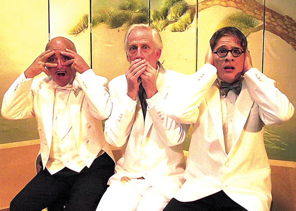 """(L to R) Vinnie Linares as Mansky, Dale Button as Sandor Turai and Dylan Bode as Albert star in """"The Play's The Thing."""""""