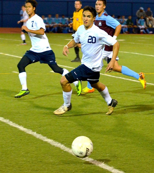 KS-Maui's Colton Cabanas scored the Warriors' first goal Thursday against Kealakehe. The Warriors won the match 3-1. File photo by Rodney S. Yap.