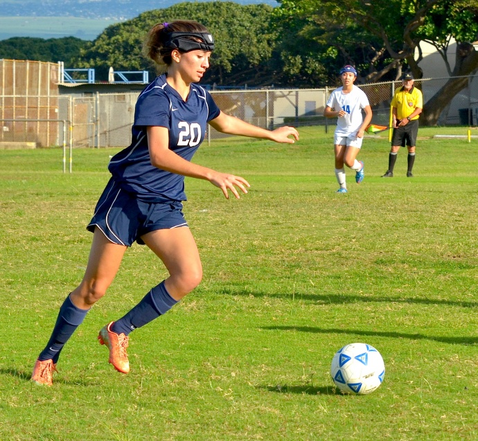 Kamehameha Schools Maui girls soccer team is led by senior Lily Higashino and sophomore Quinn Williams (above), the MIL's leading goal scorer. Photo by Rodney S. Yap.