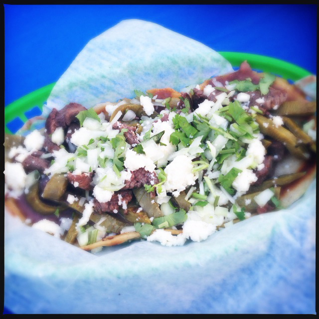 Huaraches con Carne and Nopales. Ole! Photo by Vanessa Wolf