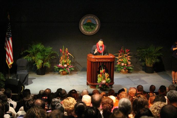 Maui Mayor Alan Arakawa, 2014 State of the County Address.  Photo by Wendy Osher.