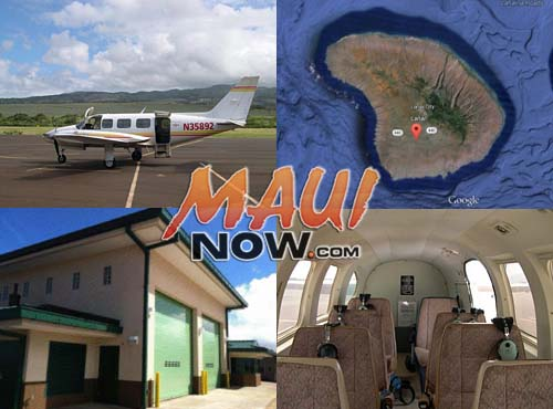 File images of company craft, courtesy Maui Air website; Lanai Map courtesy Google Earth; Lanai Airport Aircraft Rescue and Firefighting Station file image.