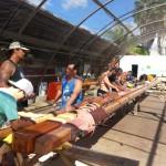 Sanding Masts for Mo'okiha. Photo courtesy Hui o Waʻa Kaulua.