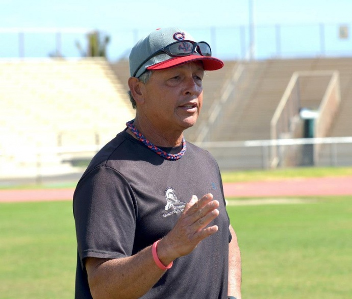 """Saint Louis football coach Vince Passas will be on Maui Saturday, March 1, for a free three-hour QB """"Get Better"""" Camp at War Memorial Stadium. File photo by Rodney S. Yap."""
