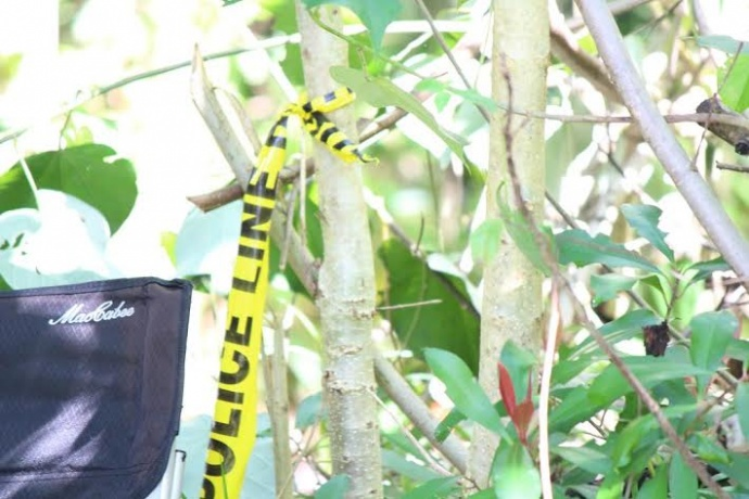 Police tape at Huaʻailua Bay. Photo 2/15/14 by Wendy Osher.