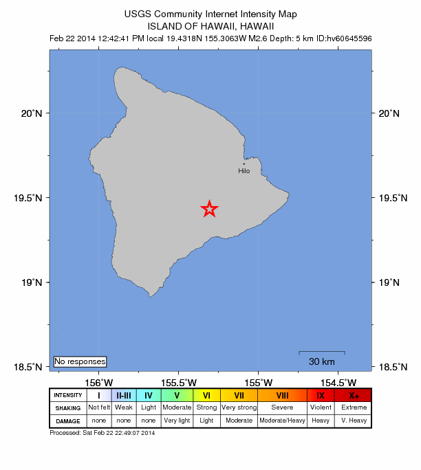 Image courtesy USGS/ Hawaiian Volcano Observatory. Kīlauea Summit earthquake, 2/22/14, 12:42 p.m.