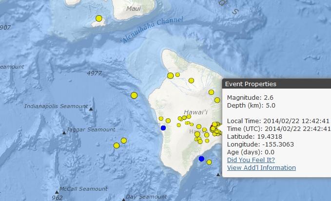 Image courtesy Hawaiian Volcano Observatory. Kīlauea quake, 2/22/14.
