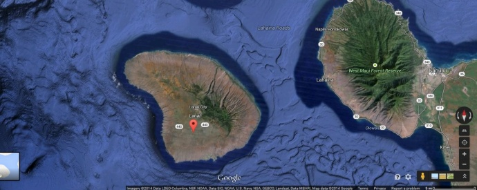 Lānaʻi plane crash site. Map courtesy Google Earth.