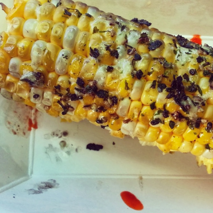 A second order of the Furikake Corn, which our dining companion tore into like a sabre tooth tiger before we could photograph it. Photo by Vanessa Wolf
