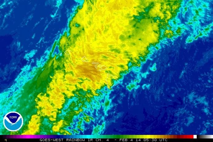 Satellite imagery, Feb. 3, 2014, 7:30 p.m.  courtesy NOAA/NWS.