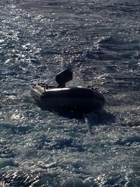 The Coast Guard is seeking the public's assistance after receiving a report of an unmanned adrift black and grey inflatable dinghy offshore approximately two and a half miles west of Kāʻanapali, Maui, March 10, 2014. The Coast Guard advises the public to register and label all watercraft and equipment with contact information in order to quickly account for owners and prevent any unnecessary searches. (US Coast Guard photo)