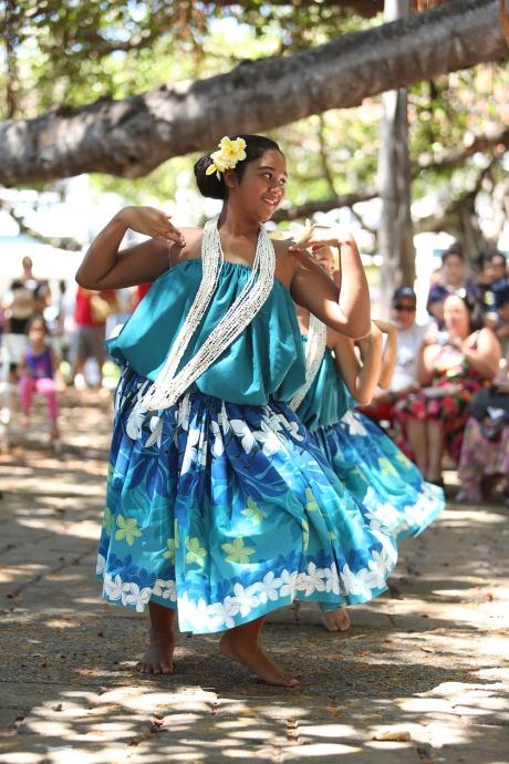 Hula dancers from Hālau Kealakahinano'opuna under the direction of Joy Salvador Photo Credit - Hunter Trevelyan Wyndham Photography.