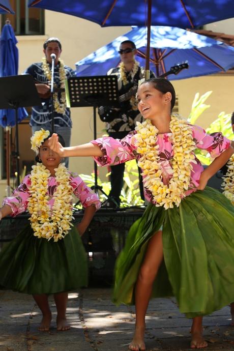 Hula dancers from Halau Kealakahinano'opuna under the direction of Joy Salvador Photo Credit - Hunter Trevelyan Wyndham Photography