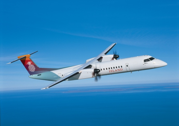 Q400 NextGen aircraft in Island Air's livery. Courtesy photo Bombardier Commercial Aircraft.