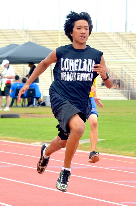 Lokelani boys winner in the 100. Photo by Rodney S. Yap.