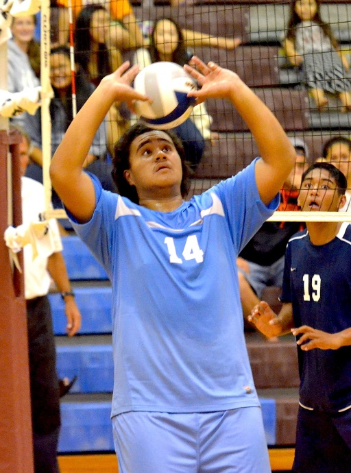 Baldwin sophomore setter Leafi Satele handles one of his 34 assists Wednesday against Kamehameha Maui. Photo by Rodney S. Yap.