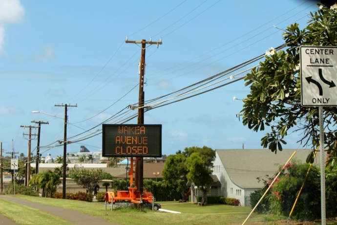 Wākea Avenue road closure, photo by Wendy Osher.