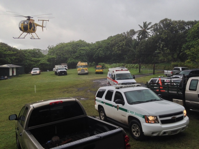 National Park Service, Maui County Police and Fire staff return to the baseyard at Haleakala National Park's Kipahulu District with two missing hikers Saturday.